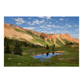 Red Mountain Reflection Poster
