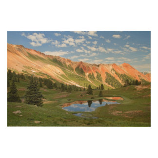 Red Mountain Reflection Wood Wall Art