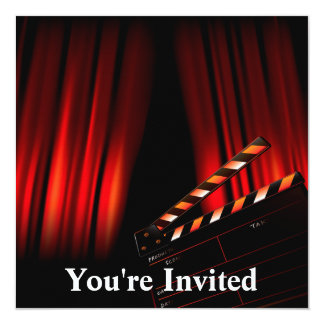 Red Movie Curtain Clapboard Director 13 Cm X 13 Cm Square Invitation Card