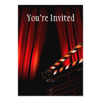 Red Movie Curtain Clapboard Director 13 Cm X 18 Cm Invitation Card