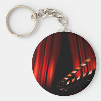 Red Movie Curtain Clapboard Director Basic Round Button Key Ring