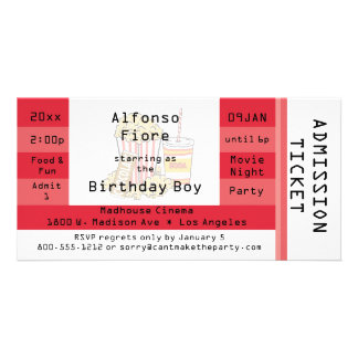 Red Movie Night Party Admission Ticket Invite