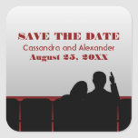 Red Movie Theatre Save the Date Stickers