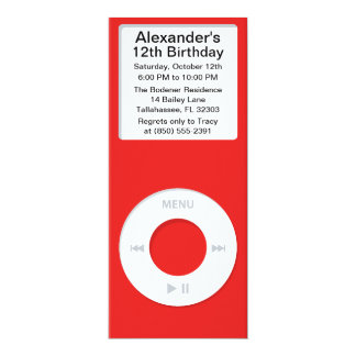 Red MP3 Player iParty Birthday Party Custom Invites