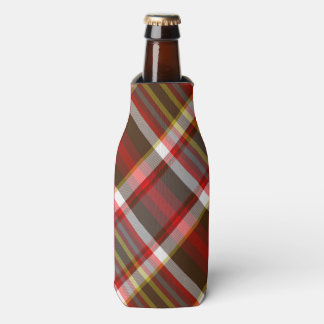 Red Multi Plaid Bottle Cooler
