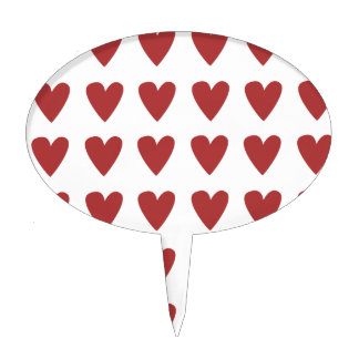 Red Multiple Hearts Pattern Gift Cake Toppers
