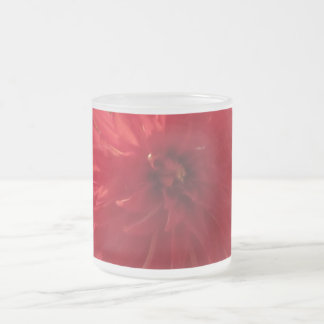 Red Mum Flower Frosted Glass Mug