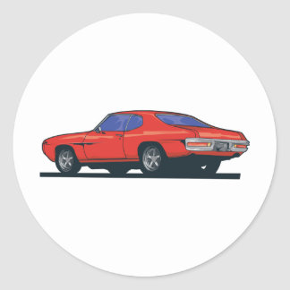 Red Muscle Car Classic Round Sticker