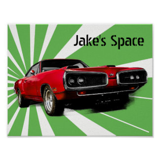 Red Muscle Car Poster