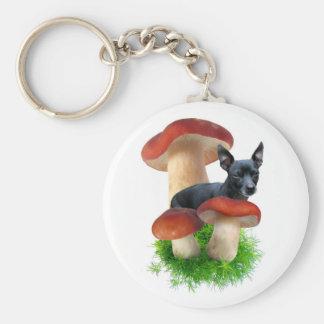 Red Mushroom Dog Keychain