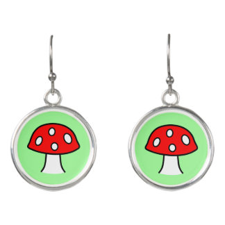 Red Mushroom Drop Earrings