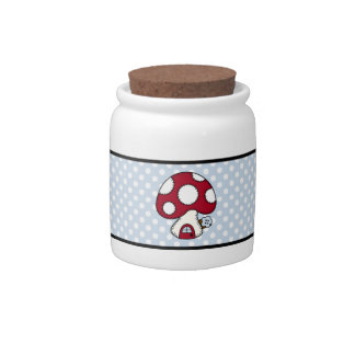 Red Mushroom House Fairy Gnome Home Candy Dish