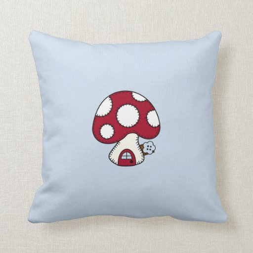 Red Mushroom House Fairy Gnome Home Pillow