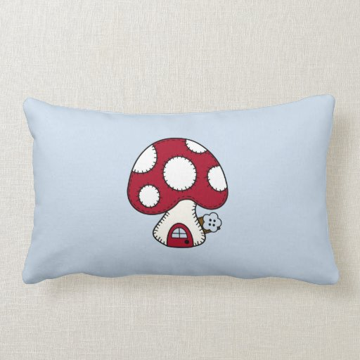 Red Mushroom House Fairy Gnome Home Throw Pillows