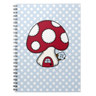 Red Mushroom House Fairy Gnome Home Spiral Note Books