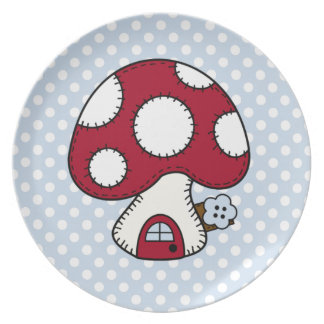 Red Mushroom House Fairy Gnome Home Plate