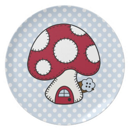 Red Mushroom House Fairy Gnome Home Dinner Plate
