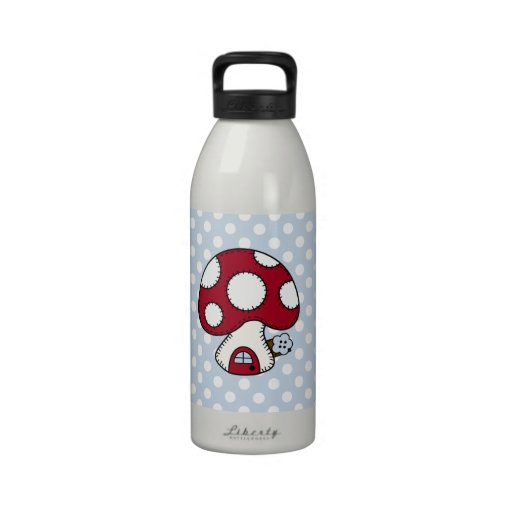 Red Mushroom House Fairy Gnome Home Reusable Water Bottles