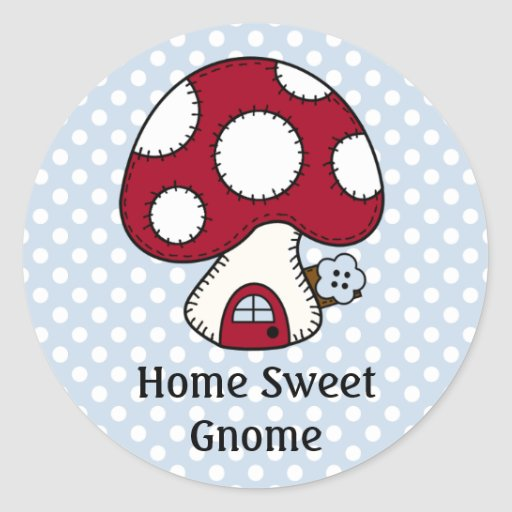 Red Mushroom House Fairy Home Home Sweet Gnome Round Stickers