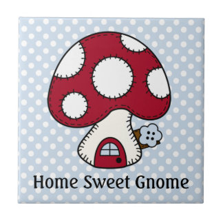 Red Mushroom House Fairy Home Home Sweet Gnome Ceramic Tile