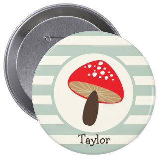Red Mushroom on Sage Green Stripes Button