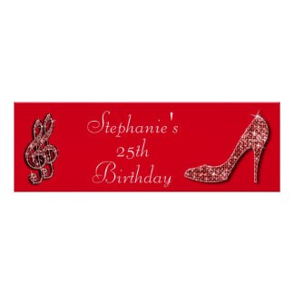 Red Music Note and Stiletto 25th Birthday Poster