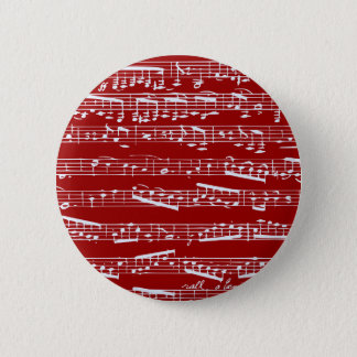 Red music notes 6 cm round badge