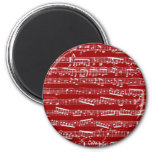 Red music notes 6 cm round magnet