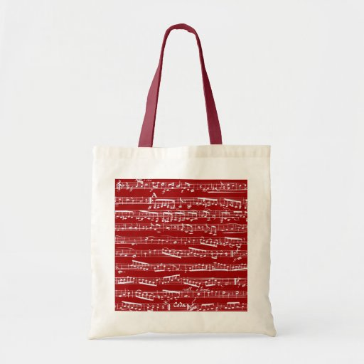 Red music notes tote bags
