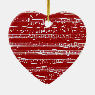 Red music notes ceramic heart decoration