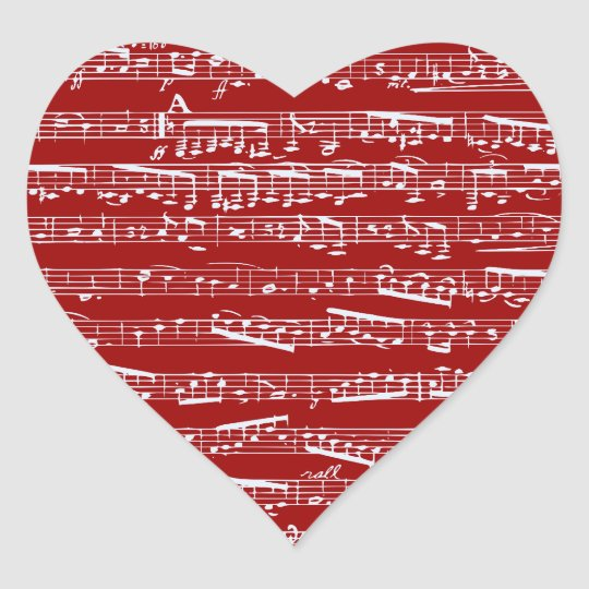 Red music notes heart sticker