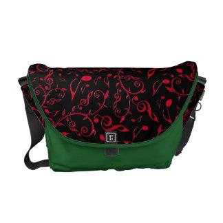 Red Music Notes Pattern On Black Messenger Bag