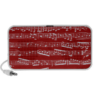 Red music notes travelling speakers