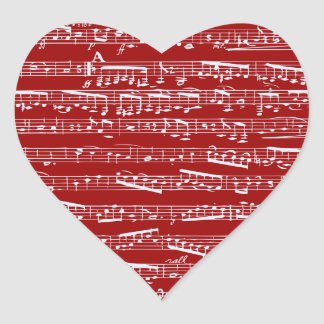 Red music notes heart stickers