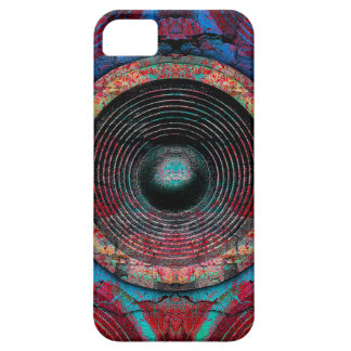 Red music speakers on a cracked wall iPhone 5 cover