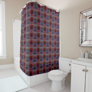 Red music speakers pattern shower curtain