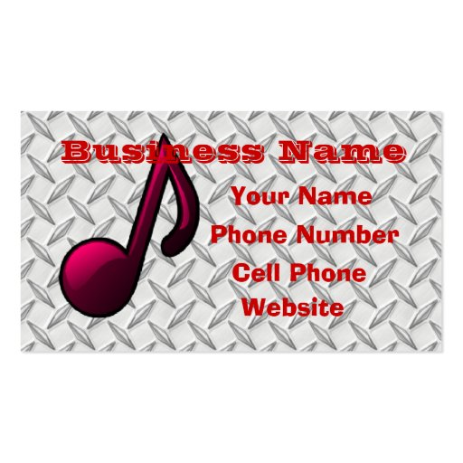 Red Musical note Business Card Templates
