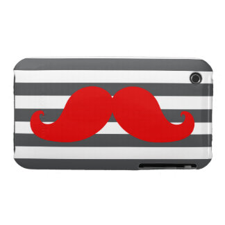 Red Mustache and Grey Stripes iPhone 3 Case