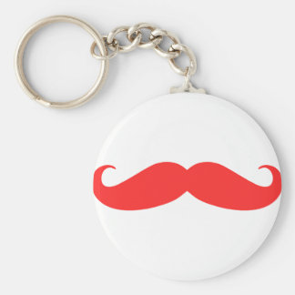 Red Mustache Stache for Christmas Basic Round Button Key Ring