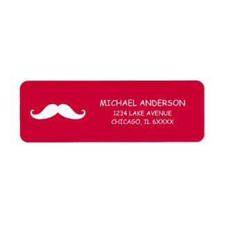 Red Mustache Valentine Return Address Labels