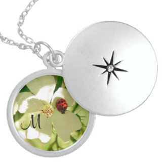 Red N Black Ladybug ,monogram on a white flower Locket Necklace