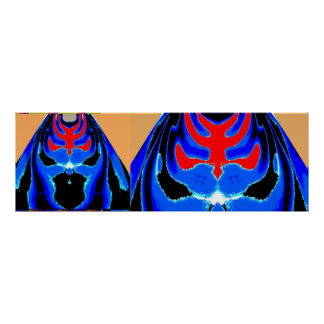 Red n Blue Chinese GHOST Mascots - Decorations Print