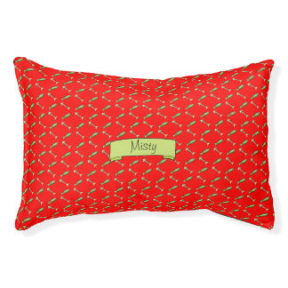 Red Name and Fish and Bones Pattern Cat Pet Bed