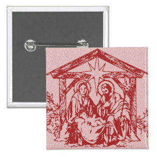 Red Nativity 15 Cm Square Badge