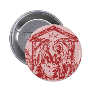 Red Nativity 6 Cm Round Badge