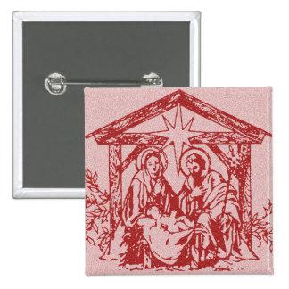 Red Nativity 15 Cm Square Badge