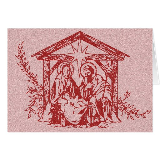 Red Nativity Christmas Card
