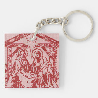 Red Nativity Double-Sided Square Acrylic Key Ring