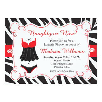 Red Naughty or Nice Lingerie Bridal Shower Card