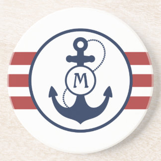 Red Nautical Anchor Coaster